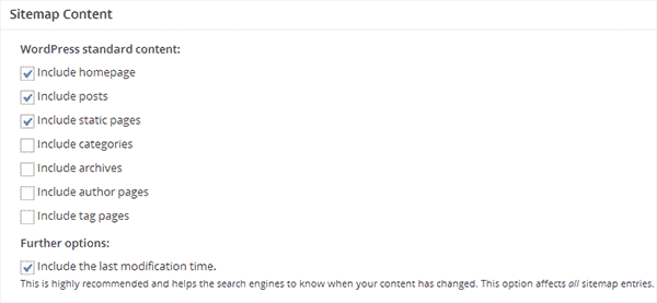 Include or exclude content from your XML Sitemaps