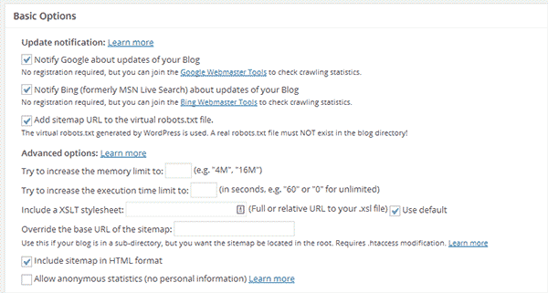 Basic settings for Google XML Sitemaps plugin