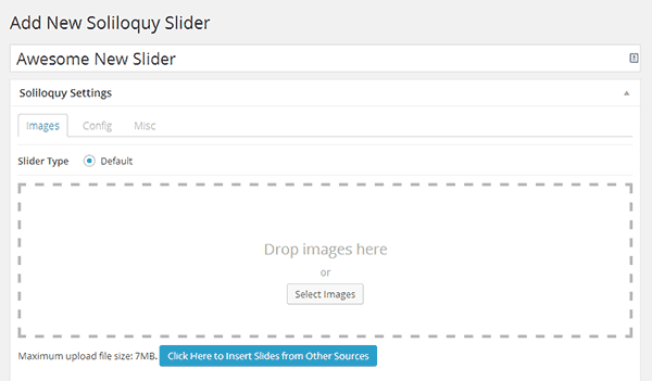 Creating a new slider with Soliloquy